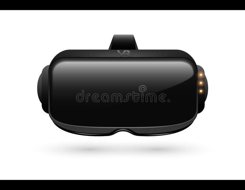 Realistic 3d Virtual Reality Headset Box Closeup front View. Futuristic Innovation digital cyberspace Technology Simulation Symbol. Vector stereoscopic vr mask royalty free illustration