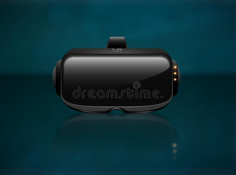Realistic 3d Virtual Reality Headset Box Closeup front View. Futuristic Innovation digital cyberspace Technology Simulation Symbol. Vector stereoscopic vr mask vector illustration