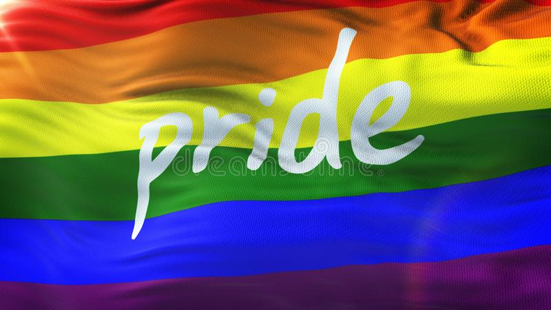LGBT PRIDE Realistic Waving Flag Background with flare stock photo