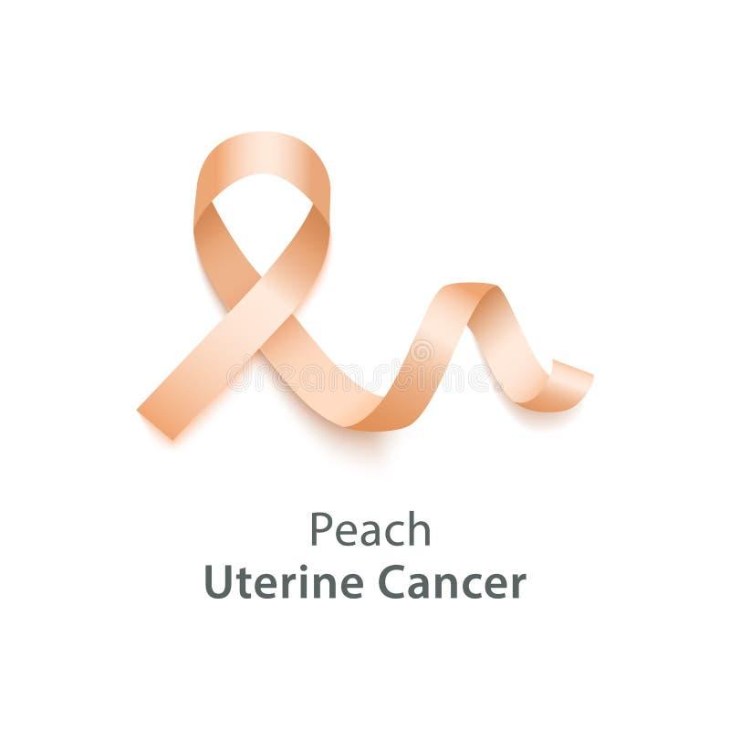 Realistic 3d wavy peach satin ribbon icon of uterine cancer symbol. stock illustration