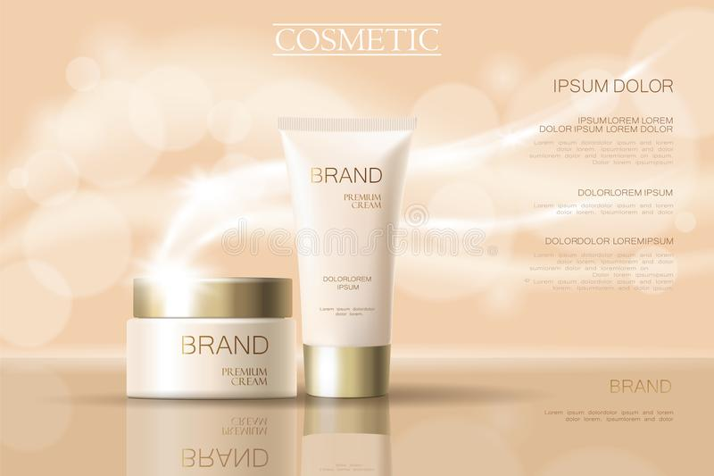 Realistic delicate cosmetic ads banner template. 3d detailed beige tube golden design commercial promotional element. Defocused blurry glowing wave background vector illustration
