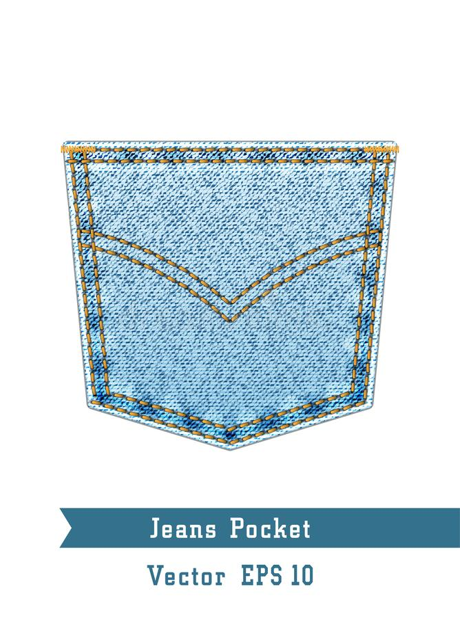 Realistic denim pocket isolated on white background. vector illustration