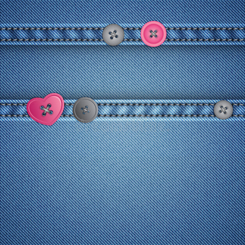 Download Realistic Denim And Sewing Buttons Stock Photo - Image: 24161560