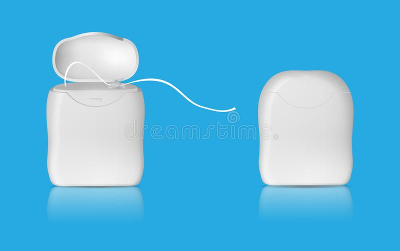 Realistic dental floss template. Closed and open case. vector. Realistic dental floss template. Closed and open case. vector stock illustration