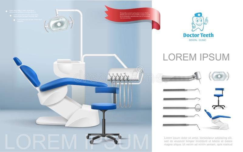Realistic Dentist Workplace Composition royalty free illustration
