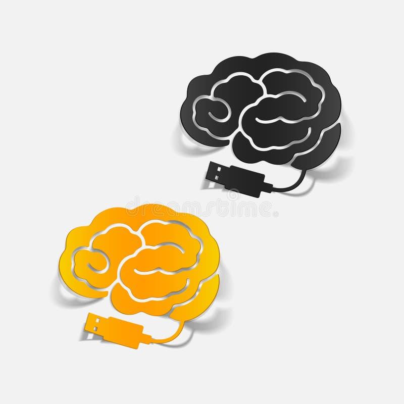 Realistic design element: brain-usb, plug. Vector Illustration royalty free illustration