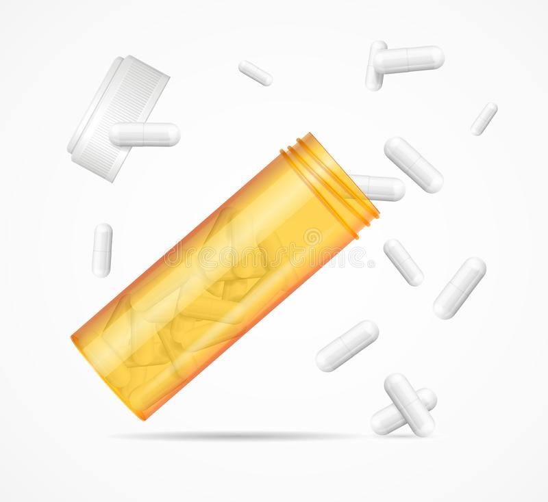Free Realistic Detailed 3d Flying Orange Pills Bottle Set. Vector Royalty Free Stock Photo - 158138055
