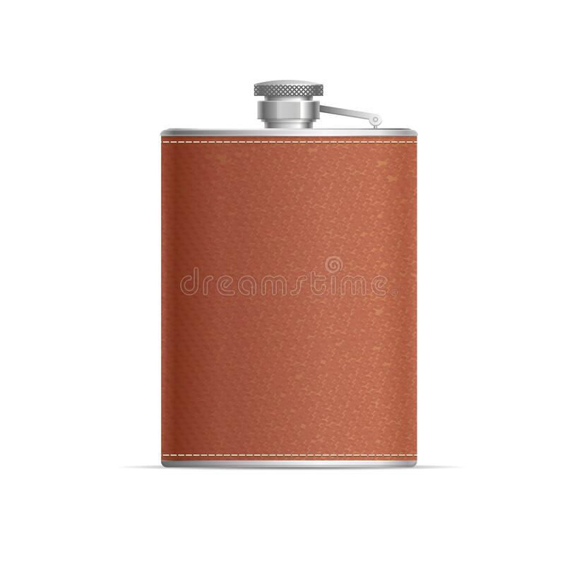 Free Realistic Detailed 3d Metal Hip Flask Wrapped In Leather. Vector Stock Photo - 198762800