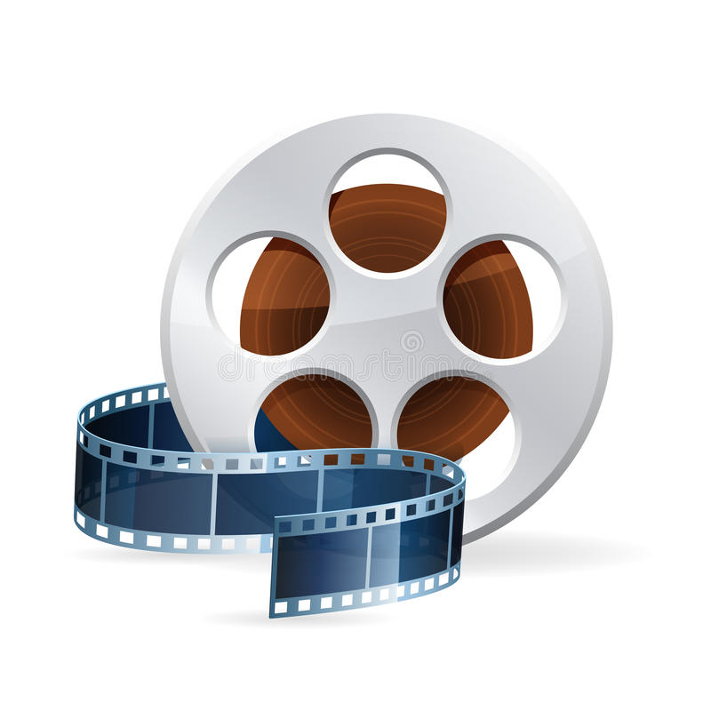 Realistic detailed cinema bobbin icon on white. Realistic detailed cinema bobbin with rolled film reel strip icon on white background illustration stock illustration