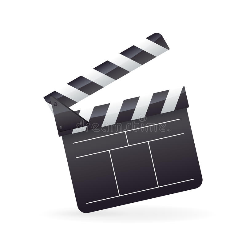 Realistic detailed cinema film clapper icon on white vector illustration