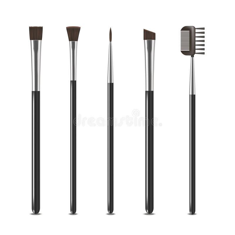 Realistic Detailed Cosmetic Brushes Narrow Set. Vector. Realistic Detailed Professional Cosmetic Brushes Narrow Set Fashion Female Accessory Design Element stock illustration