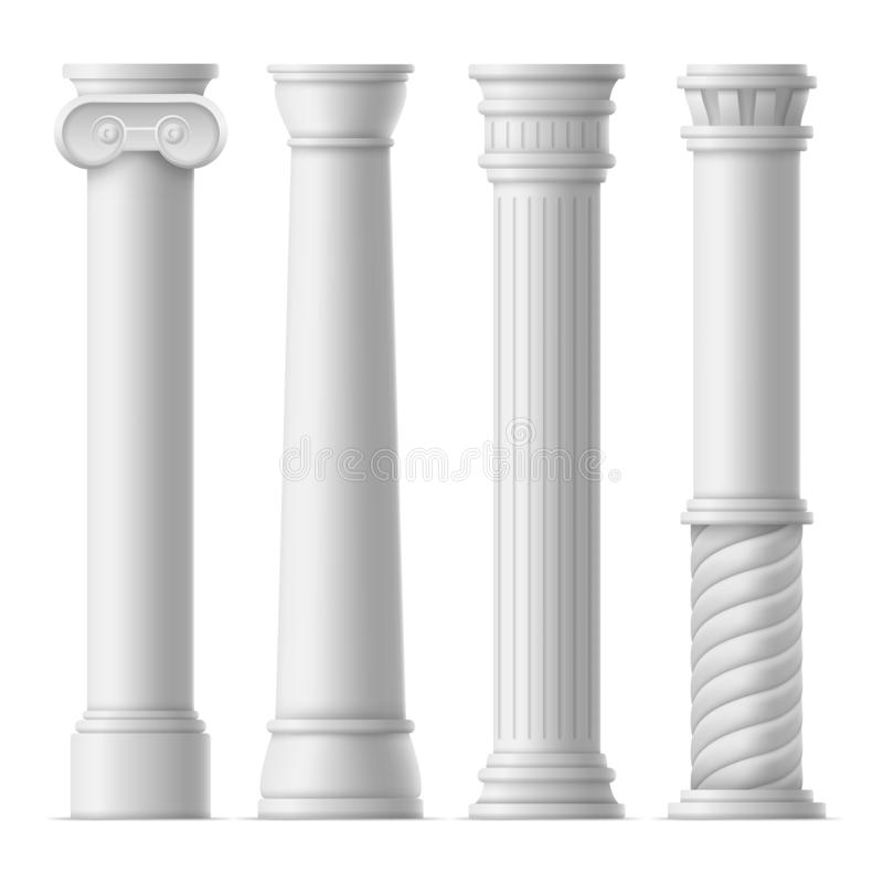 Realistic Detailed 3d Ancient Columns Set. Vector royalty free illustration