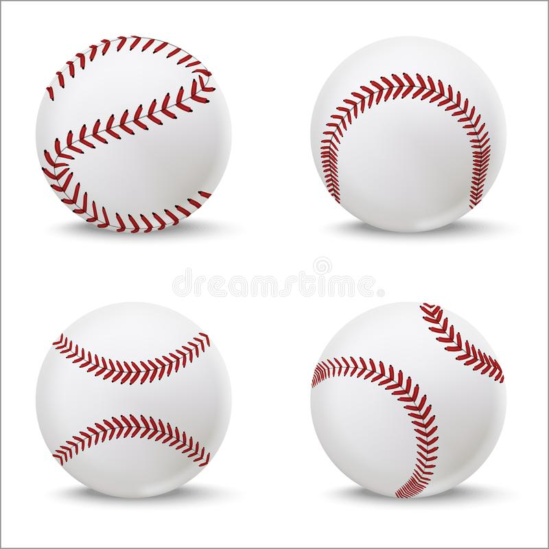 Realistic Detailed 3d Baseball Leather Ball Set. Vector. Realistic Detailed 3d Baseball Leather Ball Set Closeup View Element for Sport Game. Vector illustration stock illustration