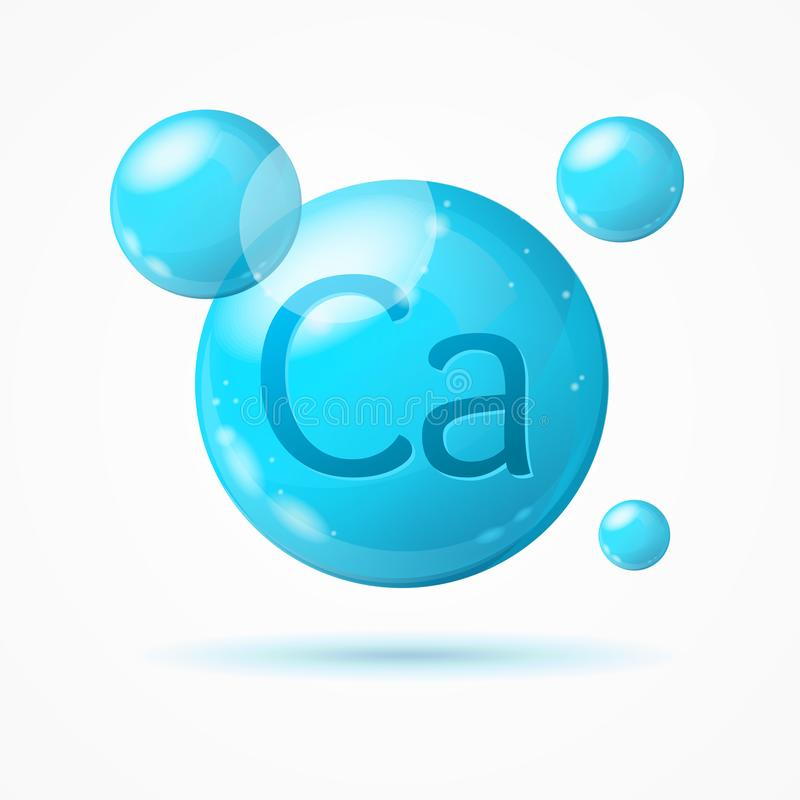 Realistic Detailed 3d Calcium Background Card. Vector stock illustration