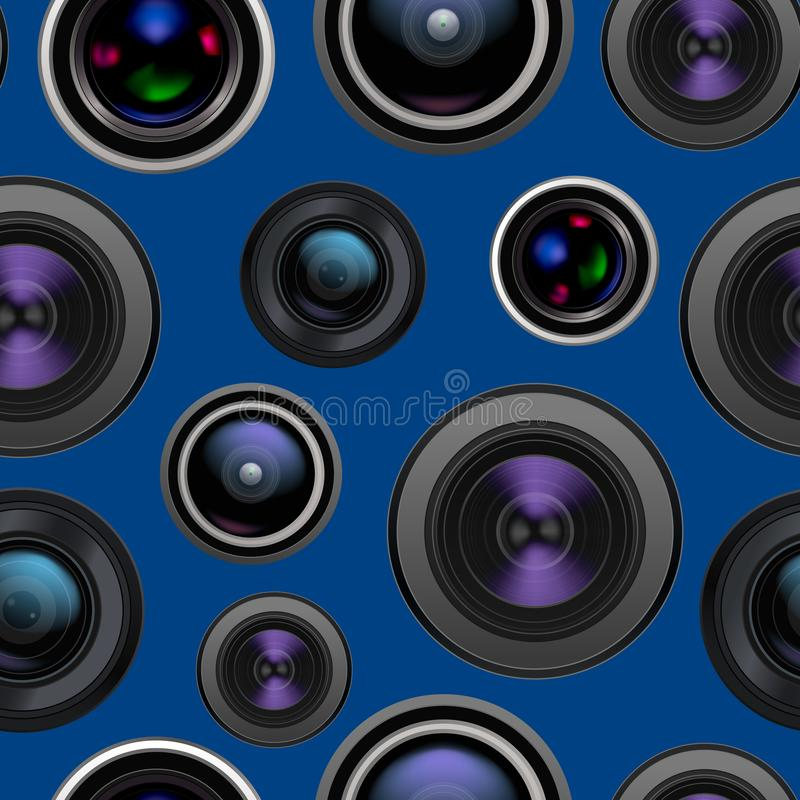 Realistic Detailed 3d Camera Lens Seamless Pattern Background. Vector stock illustration