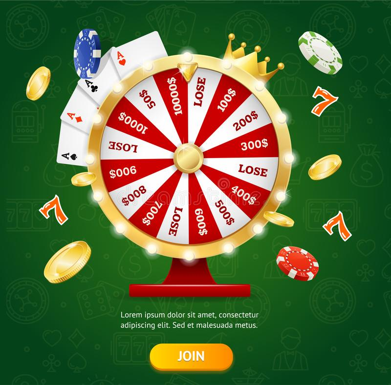 Realistic Detailed 3d Casino Fortune Wheel Concept. Vector. Realistic Detailed 3d Casino Fortune Wheel Concept with Poker Cards and Chips on a Green. Vector royalty free illustration