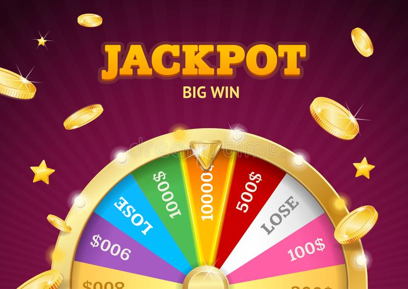 Realistic Detailed 3d Casino Fortune Wheel Jackpot Big Win Concept. Vector. Realistic Detailed 3d Casino Fortune Wheel with Golden Coin Jackpot Big Win Concept royalty free illustration