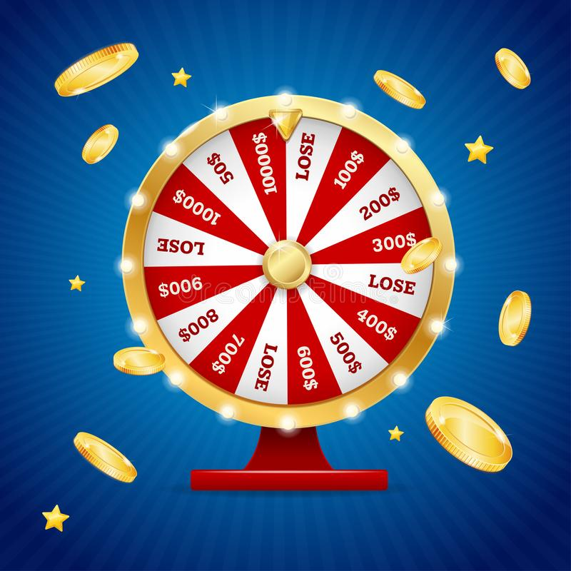 Realistic Detailed 3d Casino Fortune Wheel Winner Concept Card Background. Vector. Realistic Detailed 3d Casino Fortune Wheel Winner Concept with Falling Golden royalty free illustration
