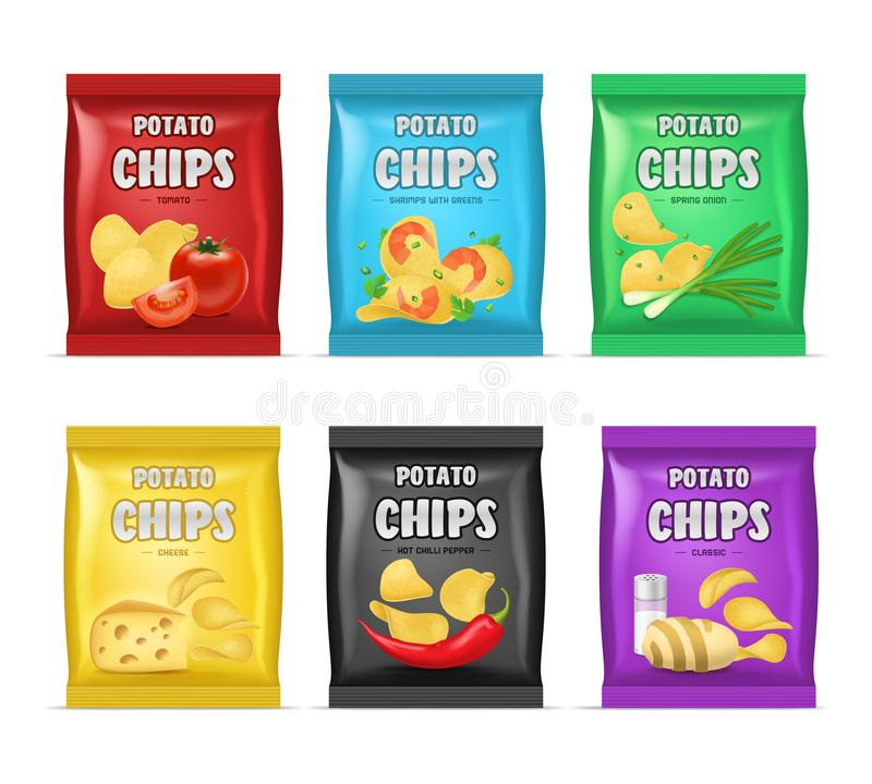 Realistic Detailed 3d Chips Advertisement Bag Set. Vector. Realistic Detailed 3d Chips Advertisement Bag Set Crunchy Delicious Tasty Snack Product with Different royalty free illustration