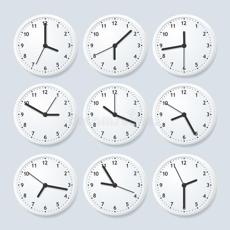 Realistic Detailed 3d Clock Set with Different Time. Vector. Realistic Detailed 3d Clock Set with Different Time on a Grey Various Types. Vector illustration of stock illustration
