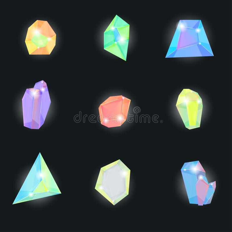 Realistic Detailed 3d Color Crystal Stone Set. Vector royalty free illustration