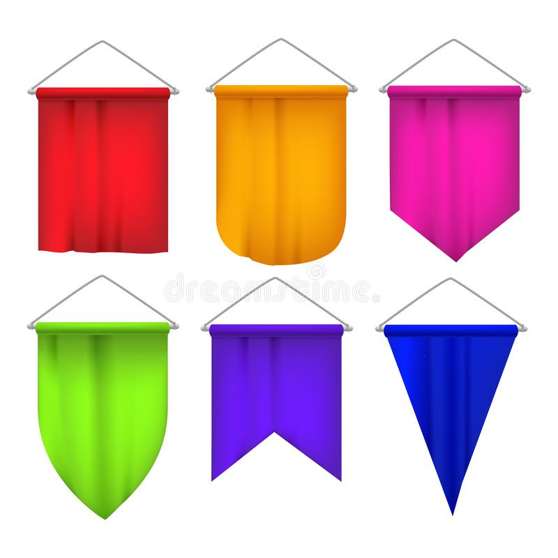 Realistic Detailed 3d Sport Pennants Flags Set. Vector royalty free illustration