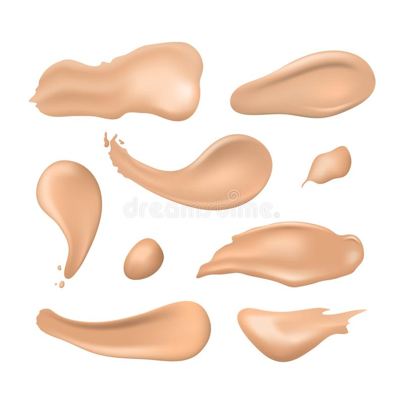 Realistic Detailed 3d Cosmetic Concealer Strokes Set. Vector. Realistic Detailed 3d Cosmetic Concealer Smear Strokes Set Various Tone Cream for Care Skin. Vector stock illustration