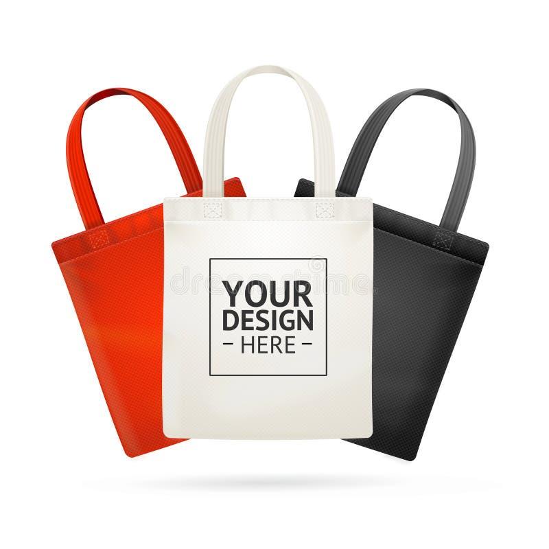 Realistic Detailed 3d Tote Bag Color Set. Vector. Realistic Detailed 3d Fabric Cloth Tote Bag with Handle Color Set Eco Fashion Concept. Vector illustration of stock illustration