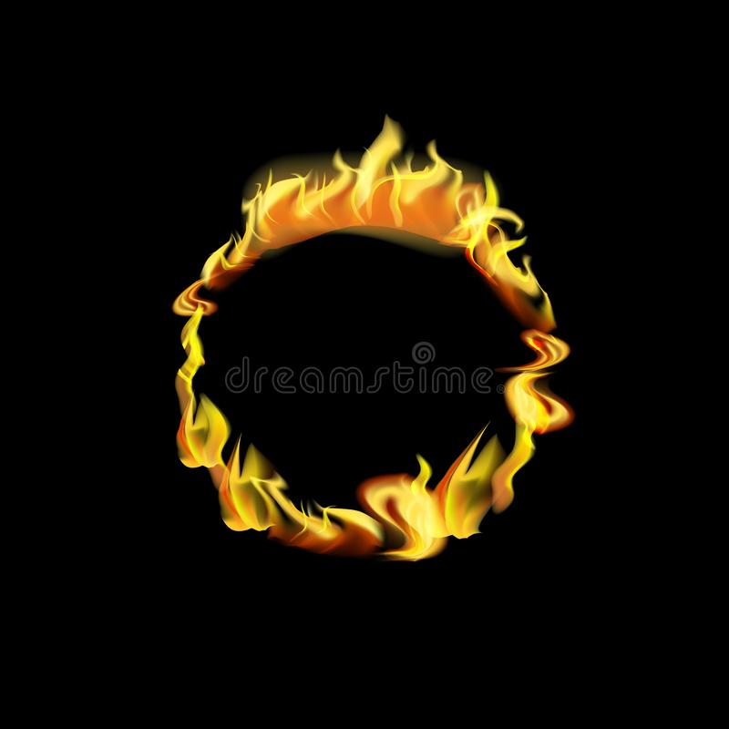 Realistic Detailed 3d Fire Round Frame or Border. Vector. Realistic Detailed 3d Fire Round Frame or Border with Hot Flame Elements for Promotion and Marketing royalty free illustration