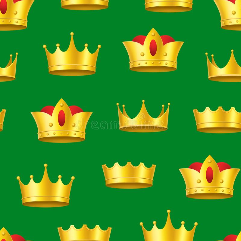 Realistic Detailed 3d Golden Crowns Seamless Pattern Background. Vector royalty free illustration