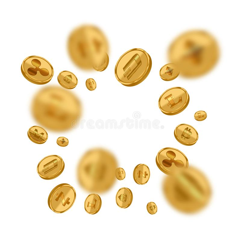 Realistic Detailed 3d Golden Cryptocurrency Closeup Set. Vector. Realistic Detailed 3d Golden Cryptocurrency Closeup Set Bitcoin Currency on White. Vector royalty free illustration
