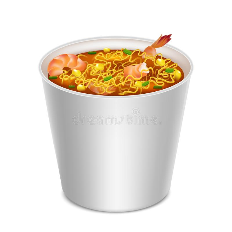 Realistic Detailed 3d Instant Noodles in Blank White Container. Vector stock illustration
