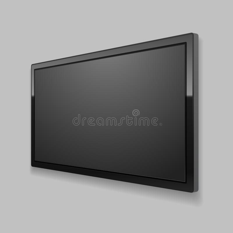 Realistic Detailed 3d Led TV Screen. Vector. Realistic Detailed 3d Led TV Screen on a Grey Background Black Monitor Perspective View. Vector illustration of stock illustration