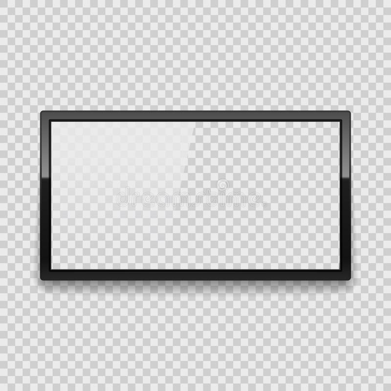 Realistic Detailed 3d Led TV Screen. Vector. Realistic Detailed 3d Led TV Screen on a Transparent Background Black Monitor. Vector illustration of Electronic vector illustration