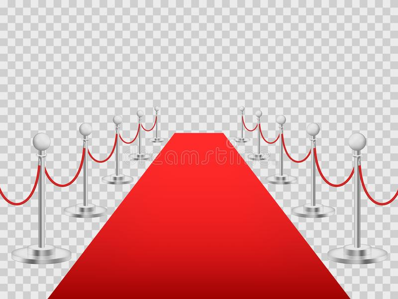 Realistic Detailed 3d Luxury Red Carpet with Barriers. Vector. Realistic Detailed 3d Luxury Red Carpet with Barriers for Event, Award, Entertainment and Premiere vector illustration