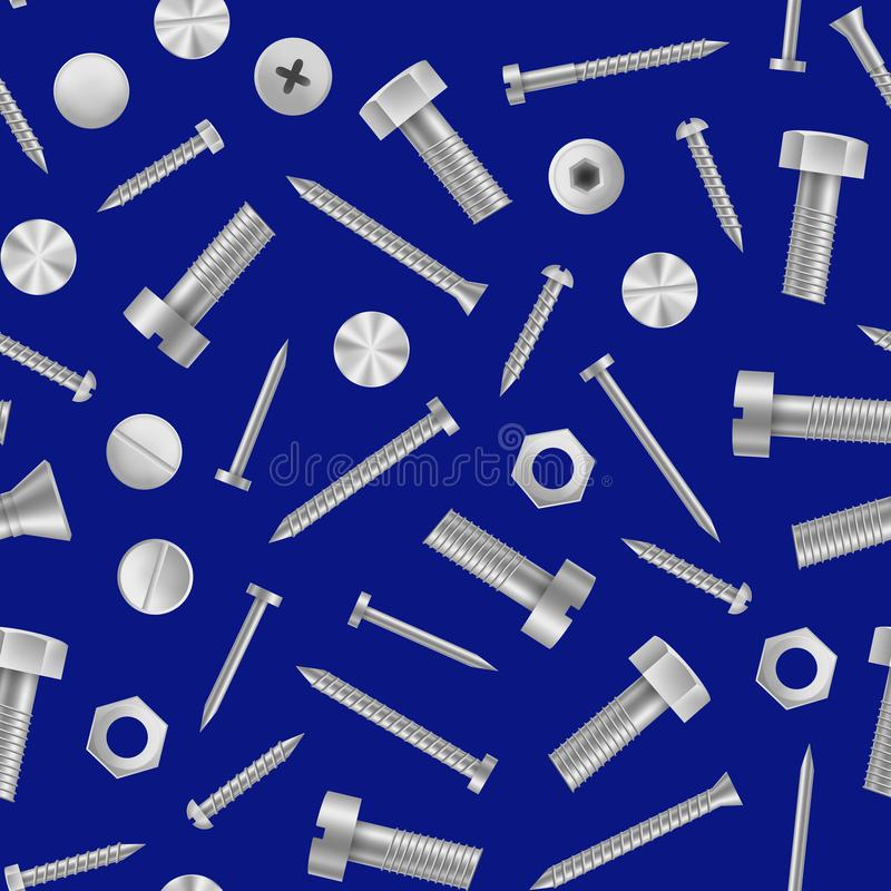 Realistic Detailed 3d Metal Screws and Bolts Seamless Pattern Background. Vector. Realistic Detailed 3d Metal Screws and Bolts Seamless Pattern Background vector illustration