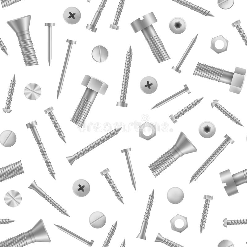 Realistic Detailed 3d Metal Screws and Bolts Seamless Pattern Background. Vector. Realistic Detailed 3d Metal Screws and Bolts Seamless Pattern Background on a royalty free illustration