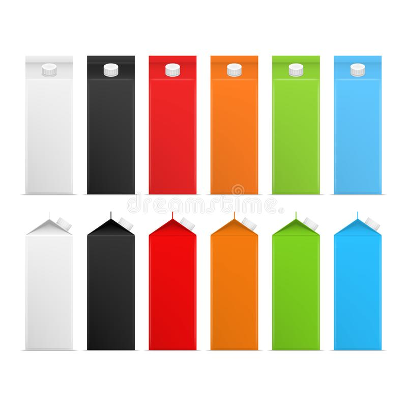 Realistic Detailed 3d Milk Carton Package Color Set. Vector stock illustration