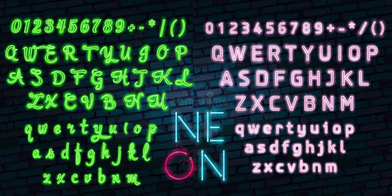 Realistic Detailed 3d Neon Lights Signs Set on a Blue Background Alphabet Font Design Element. Vector illustration of Light Sign royalty free illustration