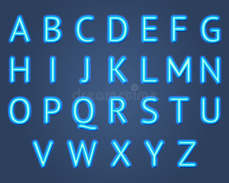Realistic Detailed 3d Neon Lights Signs Set. Vector royalty free illustration