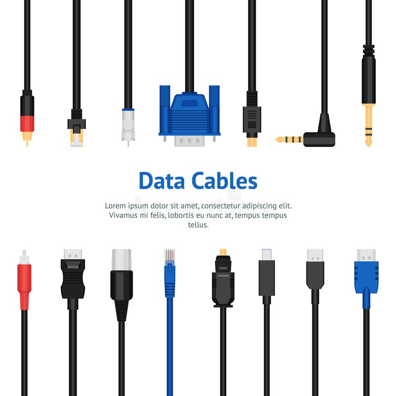Realistic Detailed 3d Network Data Cable Connectors Card Poster. Vector. Realistic Detailed 3d Network Data Cable Connectors Card Poster Equipment. Vector royalty free illustration
