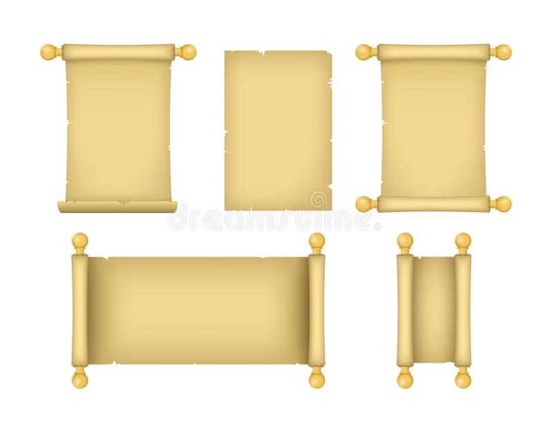 Realistic Detailed 3d Old Paper Scrolls Set. Vector. Realistic Detailed 3d Old Paper Scrolls Set Different View for Ancient Documents, Manuscript Papyrus. Vector royalty free illustration