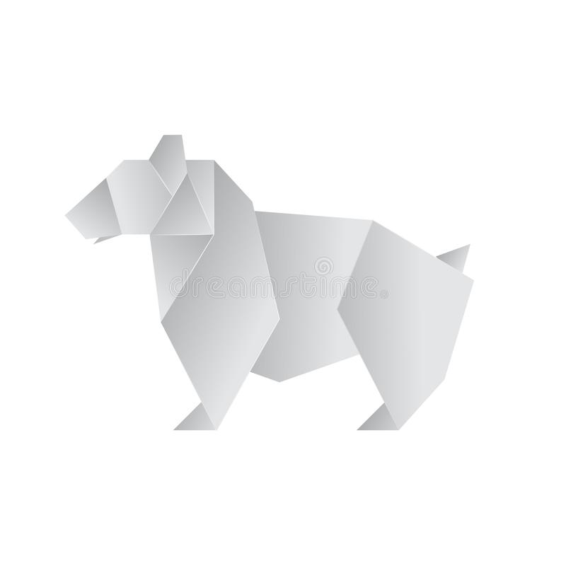 Realistic Detailed 3d Origami Paper Animal Bear. Vector vector illustration