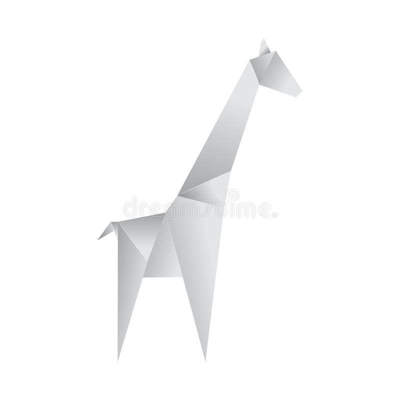 Realistic Detailed 3d Origami Paper Animal Giraffe. Vector. Realistic Detailed 3d Origami White Paper Animal Giraffe. Vector illustration of Asian Hobby stock illustration