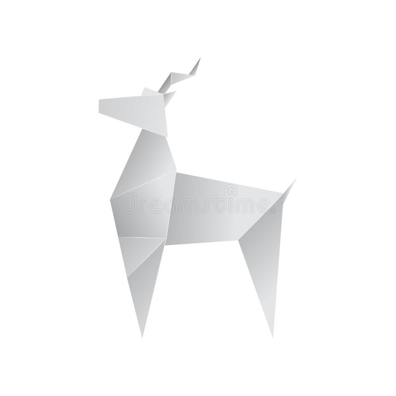 Realistic Detailed 3d Origami Paper Animal Goat. Vector. Realistic Detailed 3d Origami White Paper Animal Goat. Vector illustration of Asian Hobby royalty free illustration