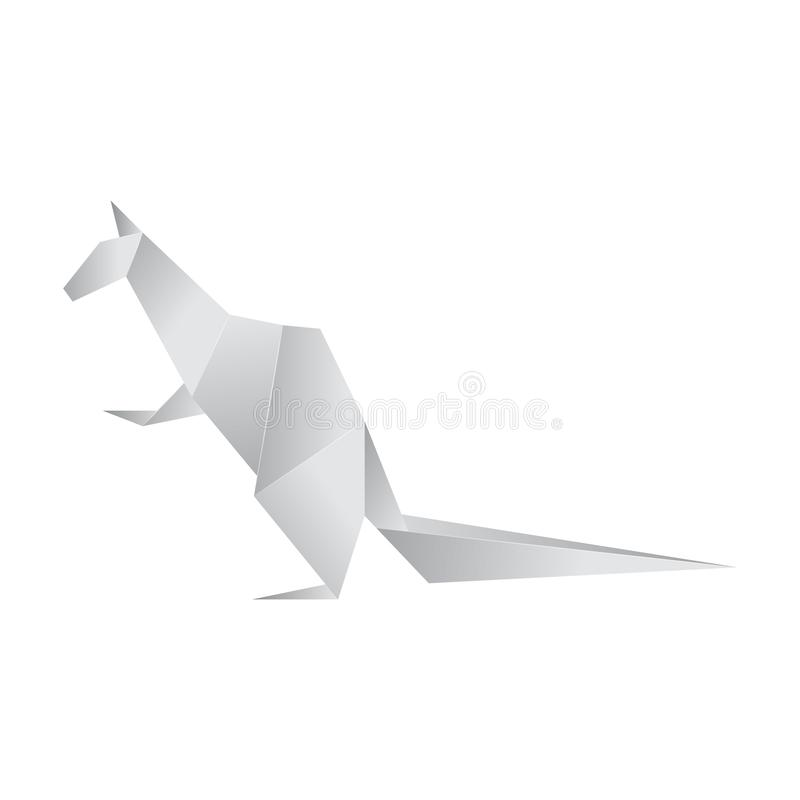 Realistic Detailed 3d Origami Paper Animal Kangaroo. Vector. Realistic Detailed 3d Origami White Paper Animal Kangaroo. Vector illustration of Asian Hobby vector illustration