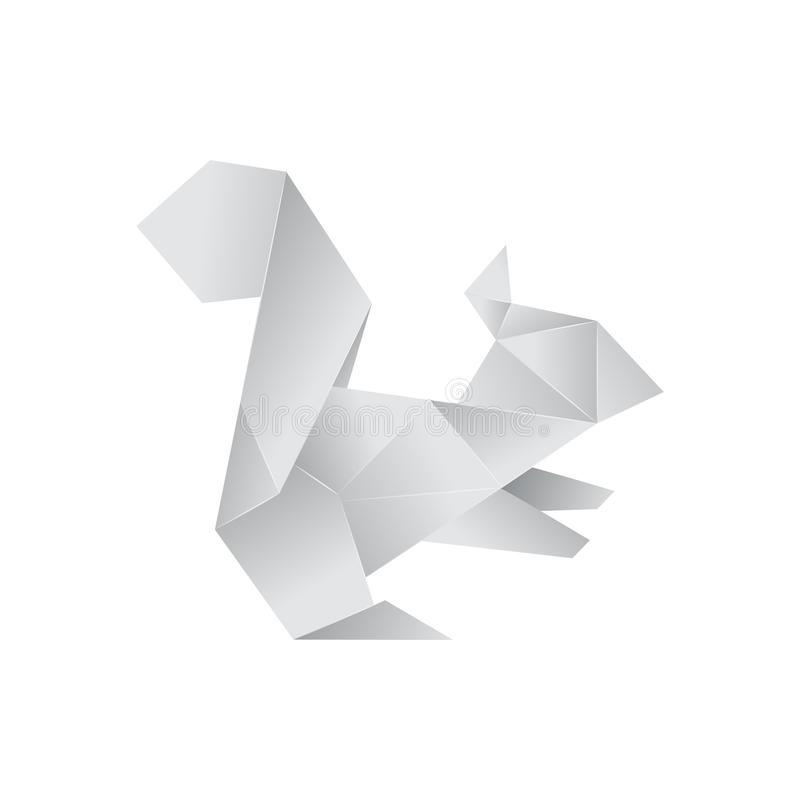 Realistic Detailed 3d Origami Paper Animal Squirrel. Vector. Realistic Detailed 3d Origami White Paper Animal Squirrel. Vector illustration of Asian Hobby stock illustration