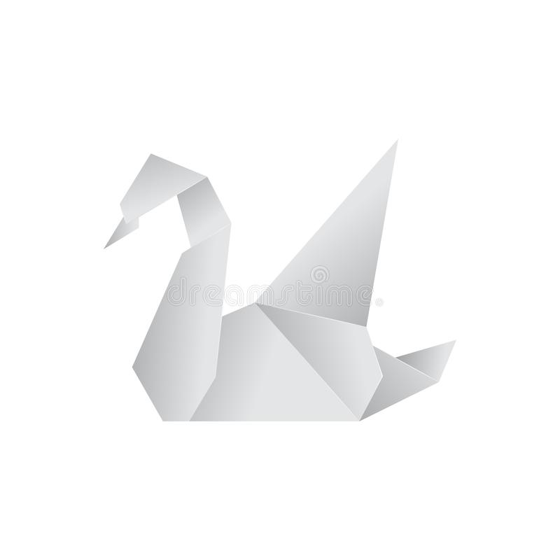 Realistic Detailed 3d Origami Paper Animal Swan. Vector. Realistic Detailed 3d Origami White Paper Animal Swan. Vector illustration of Asian Hobby royalty free illustration