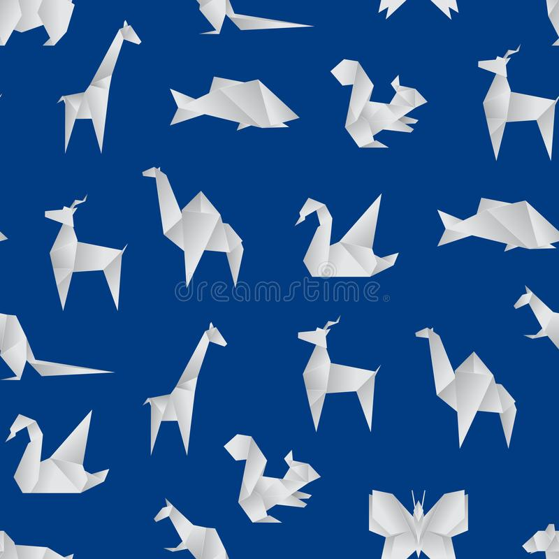 Realistic Detailed 3d Origami Paper Animals Seamless Pattern Background. Vector. Realistic Detailed 3d Origami Paper Animals Seamless Pattern Background Include vector illustration