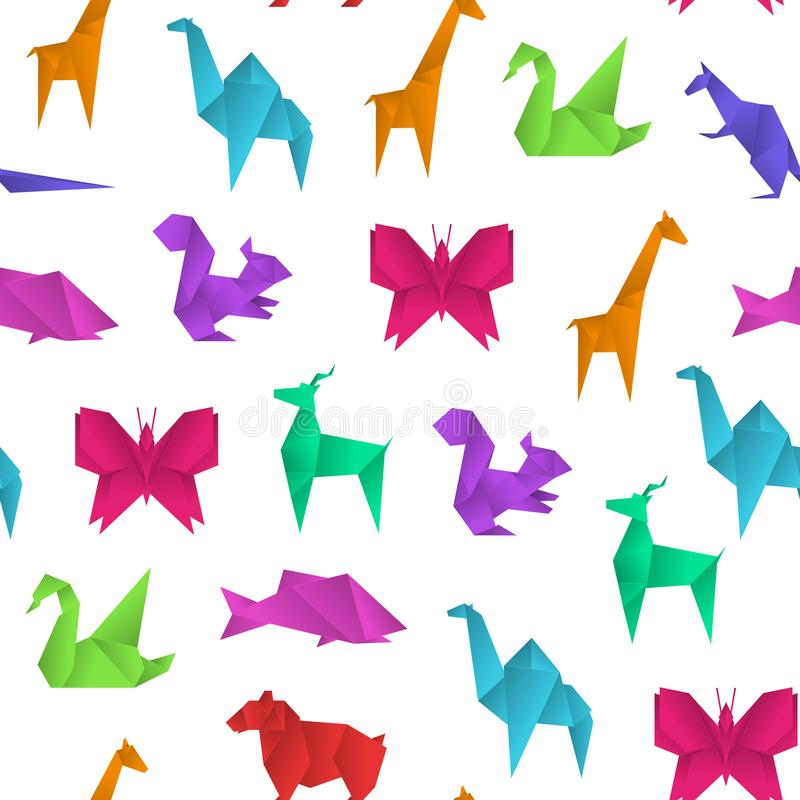 Realistic Detailed 3d Origami Paper Animals Seamless Pattern Background. Vector. Realistic Detailed 3d Origami Paper Animals Seamless Pattern Background on a royalty free illustration